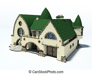 house with green roof on white background 3D rendering