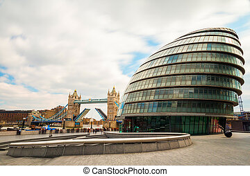 London Tower Bridge and City Hall - London cityscape around...