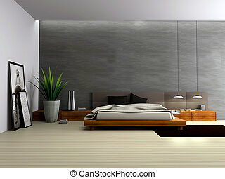 Interior of modern bedroom 3D rendering