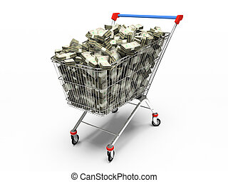 Shop pushcart with dollars 3D rendering