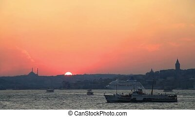 Sunset in Istanbul - Istanbul Harbor view on sunset.