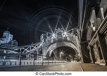 London Tower Bridge at night - Tower Bridge is a combined...