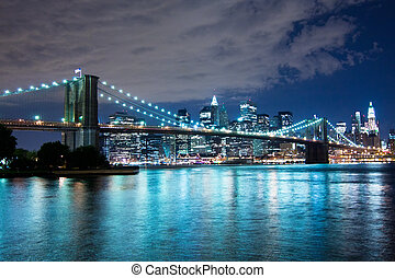 Brooklyn Bridge at night, New York City
