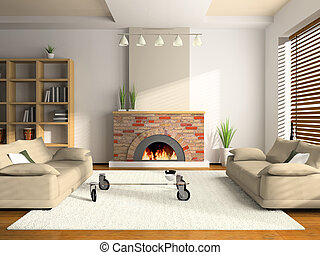 Home interior 3D rendering. You can hage your illustrartion...
