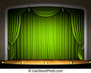 Empty stage with green curtain in expectation of perfomance