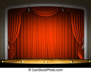 空, ステージ, 赤, カーテン, 期待,...
