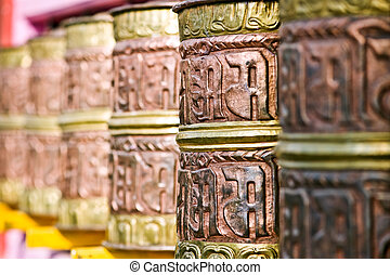 spool - gold Tibetan spool in Himalayas