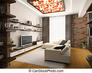 Interior of modern drawing-room 3D rendering
