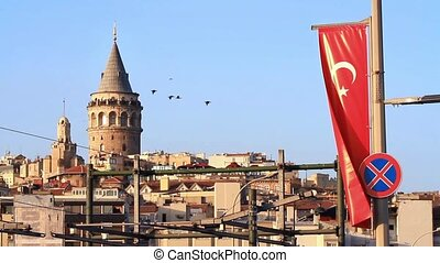 Galata Tower from the bridge - Turkish Flag on the Galata...