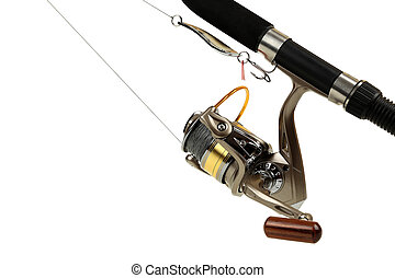Spinning rod and fishing coil with thread close up on white...