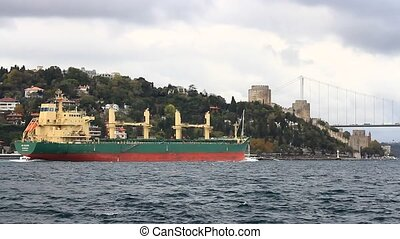 Cargo ship in Bosphorus - Cargo ship sailing in front of...