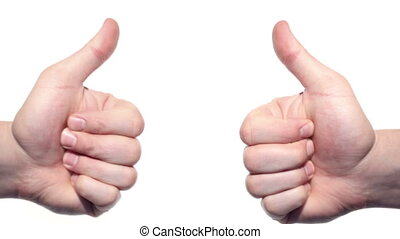 Two thumbs up isolated on a white background.