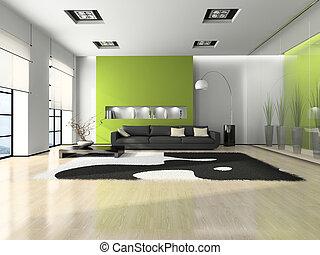 moderno, interno, divano, bianco, moquette, 3D