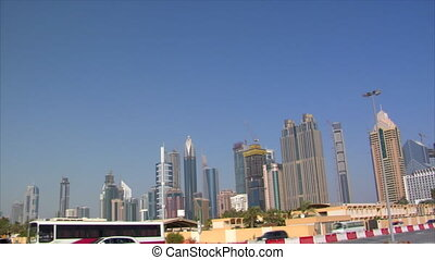 dubai skyline traffic pan - 10278 dubai skyline traffic pan