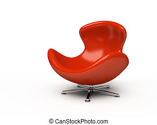Leather red armchair isolated on white background