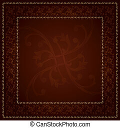 Gold frame with vintage floral elements. Vector background