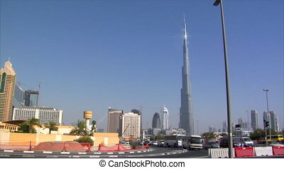 traffic burj Dubai pan skyline - 10273 traffic burj Dubai...