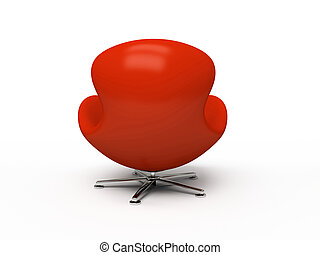 Leather red armchair (back view) isolated on white background