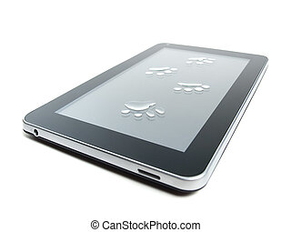 Tablet and paw prints - Tablet or pad device with paw prints...