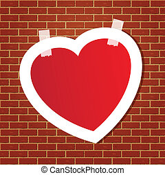 Heart on the brick wall