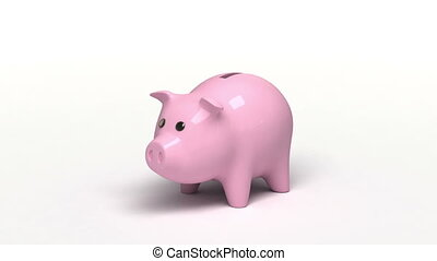 Piggy bank, 3d animation with a sound