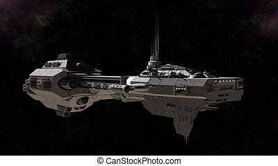 Science Fiction Gunship - Science fiction gunship in deep...