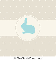 Abstract easter card with cute bunny on lace background