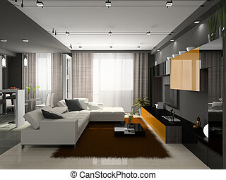 Interior of the stylish apartment. Photo on magazine was...
