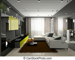 Interior of the stylish apartment Photo on magazine was made...