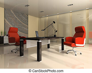 Interior of the modern office with two red armchairs