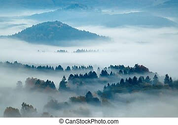 hilly landscape with fog - autumn morning hilly landscape...