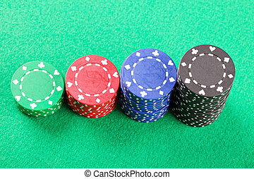 Stacked chips above view - Various stacked poker chips on...