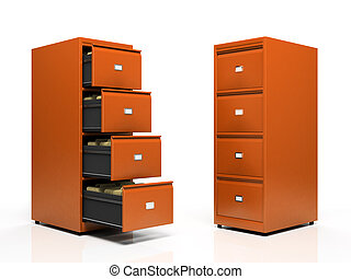 Orange card files isolated on white background
