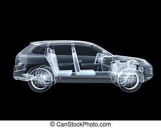 X-ray photography of the car 3D
