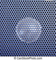 Loudspeaker behind blue grid closeup
