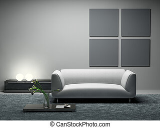 Modern room 3D rendering. Photo in magazine was made by me,...