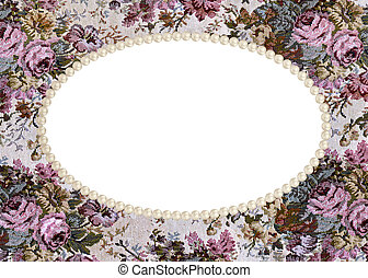 pearl frame on tapestry - Pearl beaded frame on...