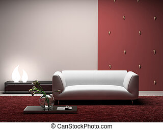 Interior of the modern room with red wall 3D Photo in...
