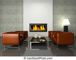 Modern interior with fireplace 3D rendering. Photo in...