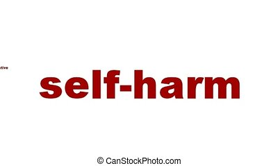 Self-harm mental health symbol isolated on white....