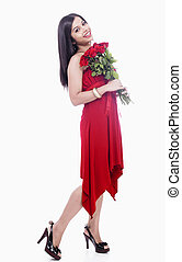 girl standing with bouquet - beautiful girl standing with a...