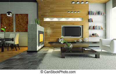 View on the modern apartment with fireplace 3D. Photo in...