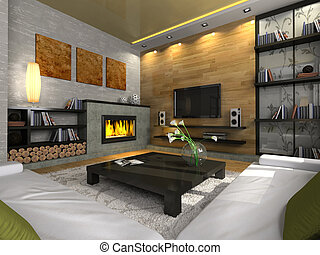 View on the modern apartment with fireplace 3D. Photo in the...