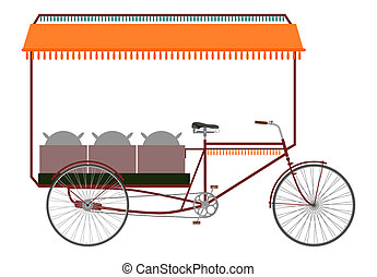 Rickshaw. - Carrier bicycle rickshaw silhouette on a white...