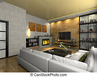 View on the modern apartment with fireplace 3D Photo in the...