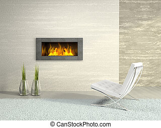 Part of the modern interior with fireplace 3D rendering