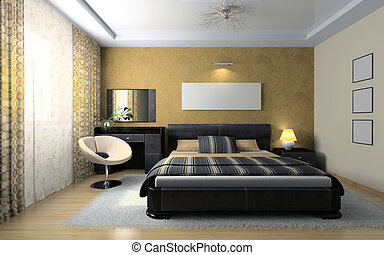 View on the stylish bedroom 3D rendering