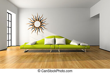 Modern interior with green sofa 3D rendering