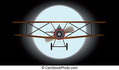 Flying by Night - A WWI RFC fighter plane flying against the...