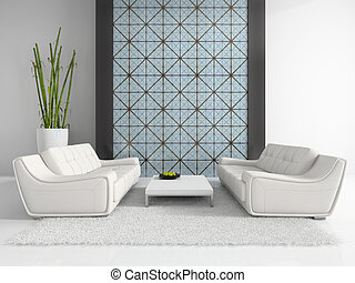 Modern interior with two white sofas 3D rendering